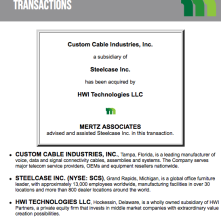 Mertz helps sell CCI to HWI Partners